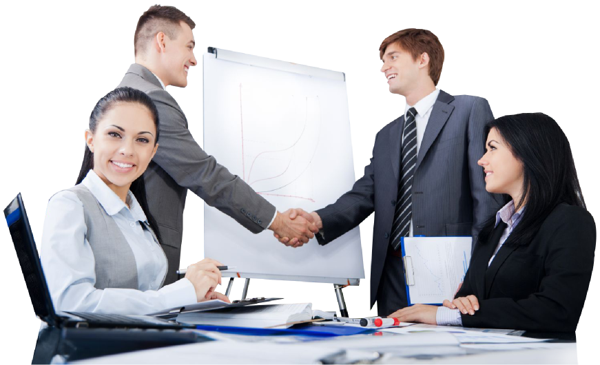 Men shake hands and women in business meeting