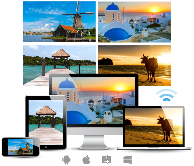 EZCast Pro supports Windows, macOS, iOS, Android in split screen mode