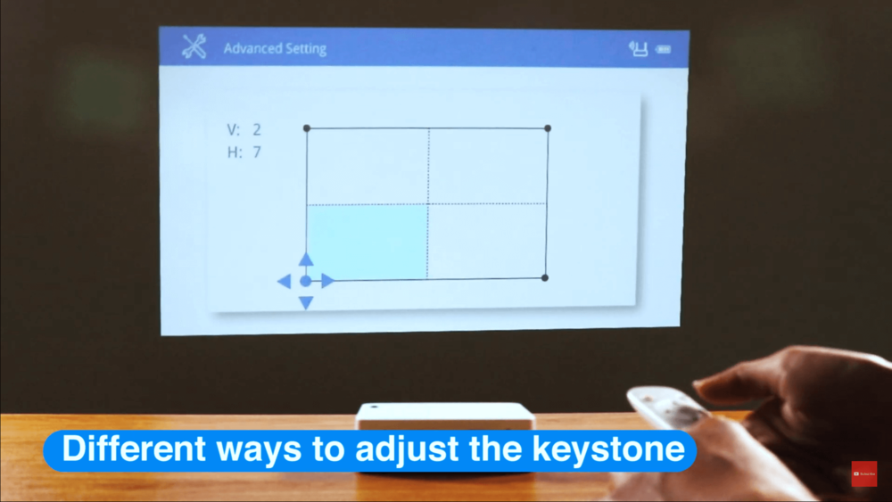 Auto keystone function to adjust projector image.