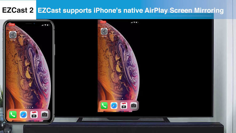 EZCast supports iOS's native Screen Mirroring.