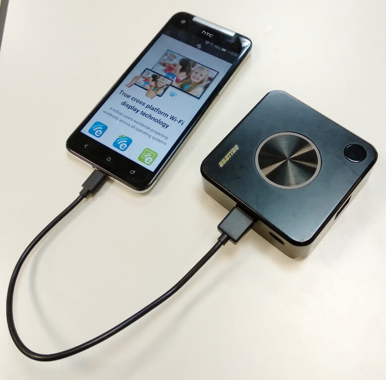 Screen casting your mobile phones with plug and play.
